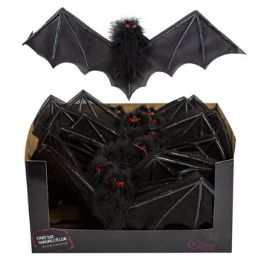 48 Units of Hanging Feather Bat W/noN-Woven Black Wings - Halloween & Thanksgiving