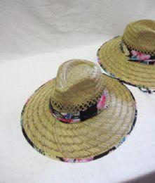24 Units of Women's Floral Trim Straw Sun Hat - Sun Hats