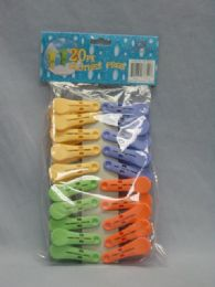 72 Units of 20 Piece Plastic Clothes Pegs - Clothes Pins