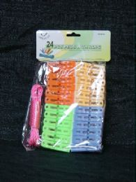36 Units of 24 Piece Laundry Peg Rope Set - Clothes Pins
