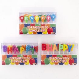 48 Units of Birthday Candle 13pc Pick Happy Birthday 3ast Styles Party Pvc Box - Birthday Candles