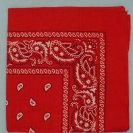 12 Units of Bandana-Red Paisley 100% Cotton - Bandanas