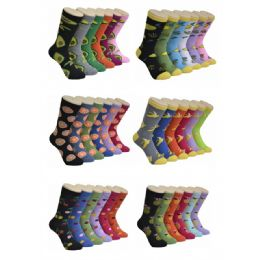 360 Units of Women's Fruit Print Crew Socks - Womens Crew Sock