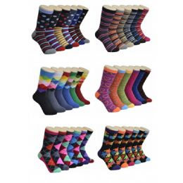 360 Units of Women's Geometry Print Crew Socks - Womens Crew Sock