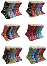 360 Units of Women's Animal Print Crew Socks - Womens Crew Sock
