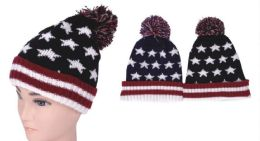 72 Units of Unisex Men's Winter USA Beanie Hat - Winter Beanie Hats