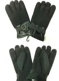 72 Units of Unisex Black Flannel Winter Glove - Winter Gloves