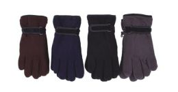 72 Units of Men's Assorted Color Fleece Glove Double Later With Strap - Winter Gloves