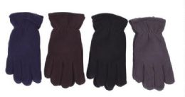 72 Units of Mens' Fleece Glove Assorted Colors - Winter Gloves