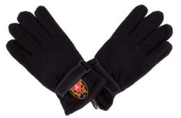 72 Units of Men's Black Fleece Glove With Velcro Strap - Winter Gloves