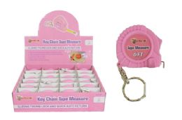 24 Units of Keychain Pink Tape Measure - Tape Measures and Measuring Tools