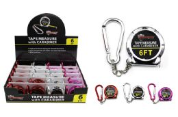 24 Units of KEYCHAIN TAPE MEASURE WITH CARABINER - Tape Measures and Measuring Tools