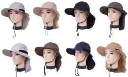 72 Units of Men's Fishing Hat With Neck Cover - Cowboy & Boonie Hat