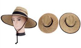 72 Units of Men's Large Brim Straw Hat - Fedoras, Driver Caps & Visor