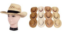 72 Units of Men's Straw Cow Boy Hats - Cowboy & Boonie Hat