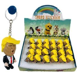 "24 Units of 2.5"" Light Up Key Chain With Sound (trump) - Key Chains"