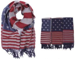 72 Units of Women's American Flag Printed Scarf - Womens Fashion Scarves