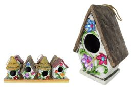 12 Units of CERAMIC BIRD HOUSE WITH FLOWERS - Garden Decor