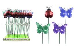 144 Units of METAL LADYBUG BUTTERFLY GARDEN PICK - Garden Decor