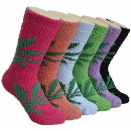 180 Units of Women's Fluffy Cozy Socks With Leaf Print - Womens Fuzzy Socks