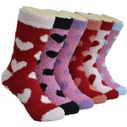 180 Units of Women's Fluffy Cozy Socks With Heart Design - Womens Fuzzy Socks