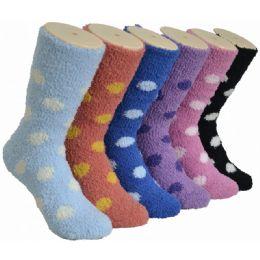 180 Units of Women's Fluffy Cozy Socks With Polka Dots - Womens Fuzzy Socks