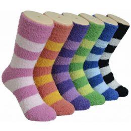 180 Units of Women's Fluffy Cozy Socks With Stripes - Womens Fuzzy Socks