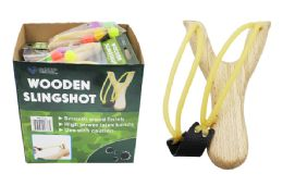 16 Units of WOODEN SLINGSHOT WITH SILICONE BALLS - Novelty Toys