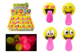 48 Units of Flashing Emoji Slingshot Ball - Light Up Toys