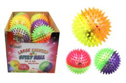 24 Units of Large Flashing Spiky Ball - Light Up Toys