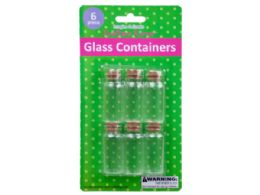 72 Units of 6 Pk Glass Containers w/Cork Stopper - Store