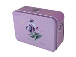 24 Units of Tin Square Canisters in Four Assorted Colors - Store