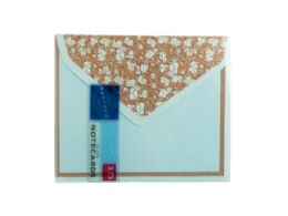 144 Units of 15 Count Blue and Brown Floral Notecard and Envelope Set - Store