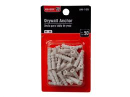 144 Units of Bulldog Hardware 50 Count Plastic Drywall Anchors - Hardware Miscellaneous