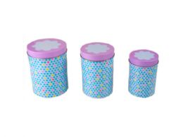 18 Units of Tin Jar Tall Canisters in Four Assorted Colors - Food Storage Containers