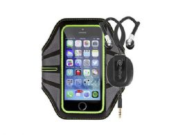 18 Units of Green Smart Phone Armband with Retractable Sports Wrap Earbu - Store