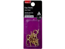 144 Units of Bulldog Hardware Brass Plate 8 Pack 7/8 Cup Hooks - Hooks