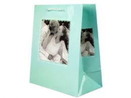 144 Units of Turquoise Romantic Medium Gift Bag - Gift Bags