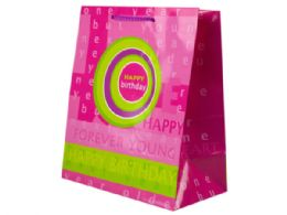 144 Units of Pink And Green Birthday Medium Gift Bag - Gift Bags