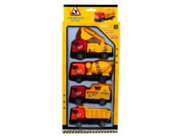 12 Units of 4 Pack Pull Back Construction Trucks - Cars, Planes, Trains & Bikes