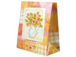 144 Units of Pink Roses Bouquet Medium Gift Bag - Gift Bags