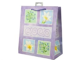 144 Units of Lavender Flowers Medium Gift Bag - Gift Bags