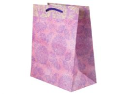 144 Units of Pink and Purple Flowers Medium Gift Bag - Gift Bags