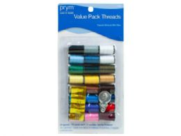 72 Units of Sewing Value Pack with 24 Spools 3 Needles and Threader - Sewing Supplies