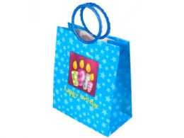 144 Units of Blue Birthday Candles Medium Gift Bag - Gift Bags