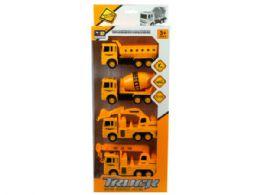 12 Units of 4 Pack Construction Trucks - Cars, Planes, Trains & Bikes
