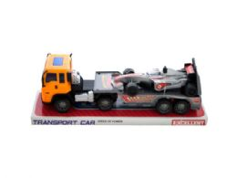 12 Units of Friction Powered Trailer Truck with Race Car - Cars, Planes, Trains & Bikes