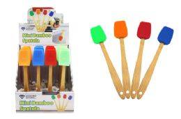 48 Units of Mini Silicone Scoop Spatula With Bamboo Handle - Kitchen Gadgets & Tools