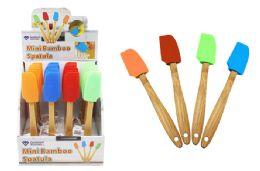 48 Units of Mini Silicone Spatula Wirh Bamboo Handle - Kitchen Gadgets & Tools