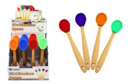 48 Units of Mini Silicone Spoon With Bamboo Handle - Kitchen Gadgets & Tools